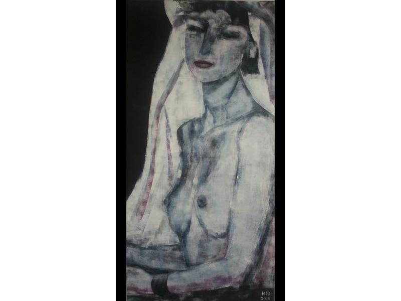 Hanne Lebram-Daumerlang: Die Schöne mit dem Schleier (Acryl)