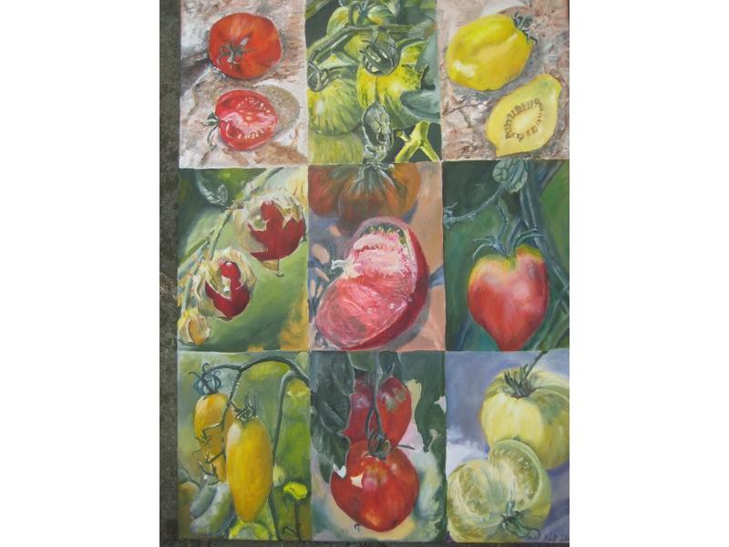 Hanne Lebram-Daumerlang: Tomatensorten (Öl)